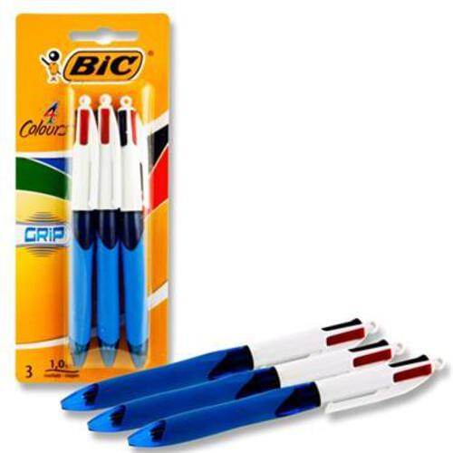Bic Card 3 4 Colour Ballpoint Pens - Grip