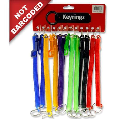 Keyringz 8Inch Spiral Keyring With Clip 5 Pastel Asst.