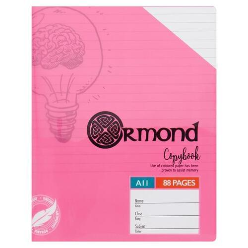Ormond 88pg A11 Visual Memory Aid Durable Cover Copy Book - Pink