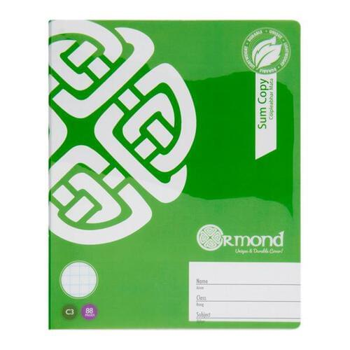 Ormond 88pg C3 Durable Cover Sum Copy Book
