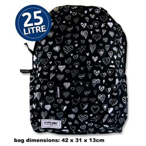 Explore 25Ltr Backpack - Black Hearts Full