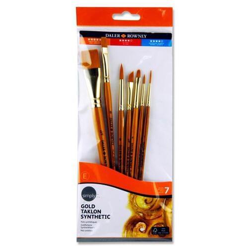 Daler Rowney Simply...7pce Gold Taklon Brush Set