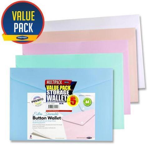 Premto Pastel Pkt.5 A4 Button Wallet