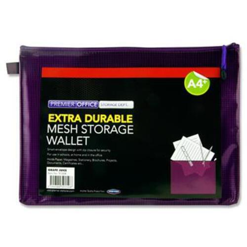 Premier Office A4+ Extra Durable Mesh Wallet - Grape Juice