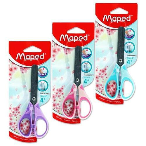Maped Essentials 13cm/5Inch Soft Grip Scissors Pastel 3 Asst