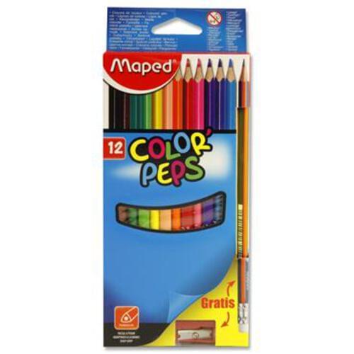 Maped Pkt.12 Colorpeps Colour Pencils + Pencil/Sharpener