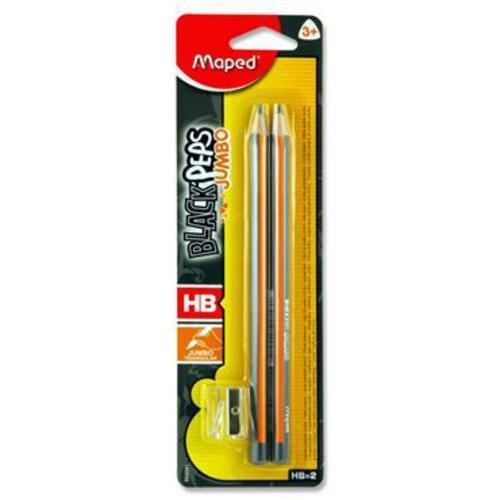 Maped Card 2 Blackpeps Jumbo Triangular Hb Pencil + Sharpener