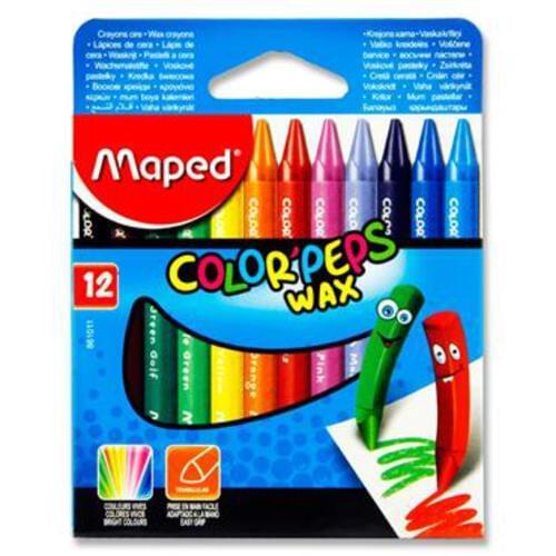 Maped Box 12 Colorpeps Triangular Wax Crayons
