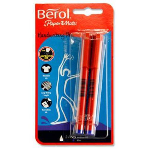 Berol Card Of 2 Handwriting Pens - Blue