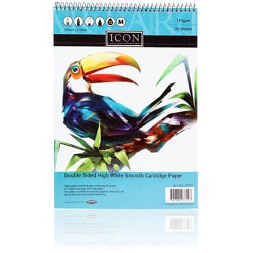 Icon A4 110Gsm Spiral Sketch Pad 30 Sheets