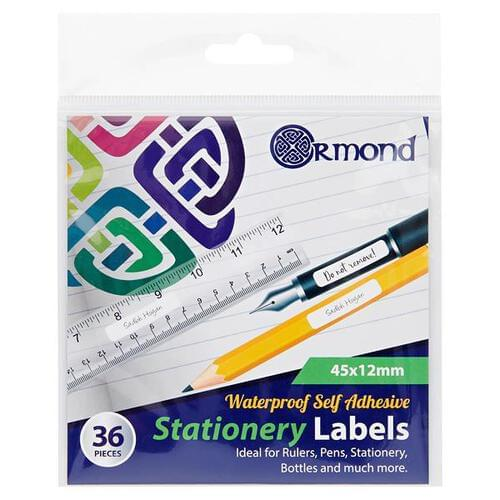 Ormond Pkt.36 45x12mm Waterproof Self Adhesive Stationery Labels