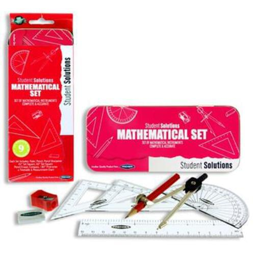 Student Solutions 9Pce Maths Set - Pink