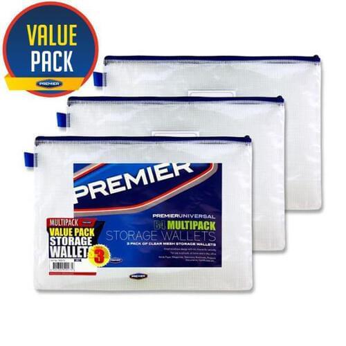 Premier Universal Pkt.3 B4 Durable Mesh Wallets - Clear