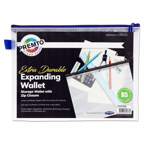 PREMTO B5 EXTRA DURABLE EXPANDABLE MESH WALLET - CLEAR PEARL