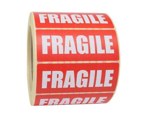 Fragile Self Adhesive labels 89x 32mm Roll 1000