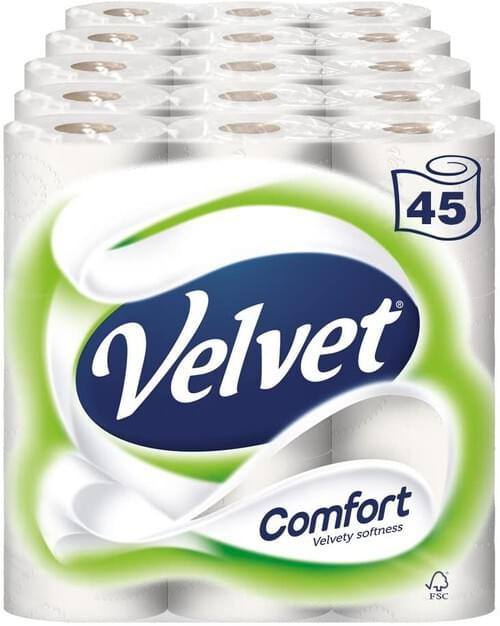 Velvet White Toilet Tissue pk 9 x 5
