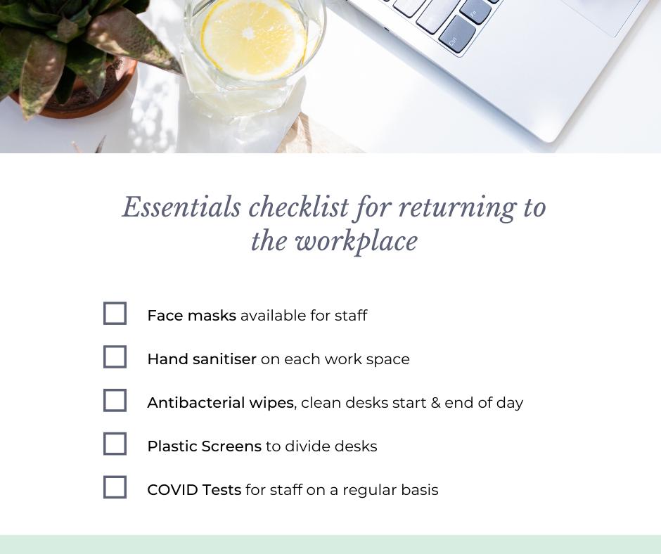 Returning to work checklist