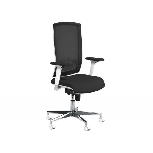 Begin Mesh High Backrest White Swivel Chair with Chrome Base