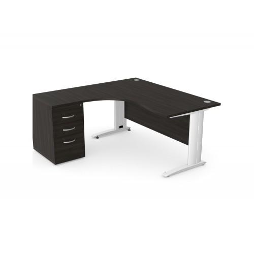 Komo Crescent Office Desk with Pedestal