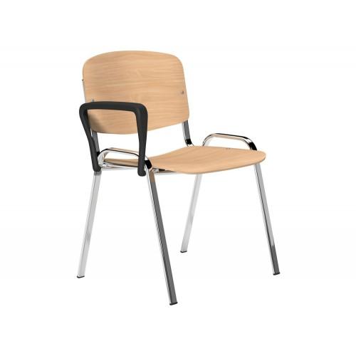 OI Series Beech Wood Chair with Chrome Frame