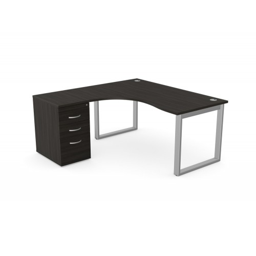 Switch 1 Person Crescent Desk and Desk High Pedestal with Closed Leg