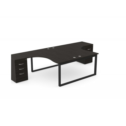 Switch 2 Person Crescent Desk and Desk High Pedestal with Closed Leg