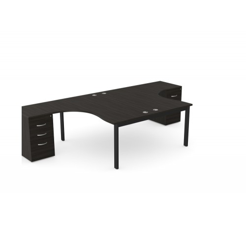 Switch 2 Person Crescent Desk and Desk High Pedestal with Open Leg