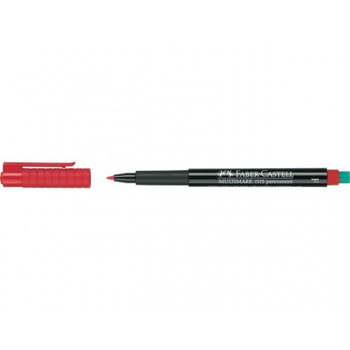 Faber-Castell Multimark 1513 Permanent 0.6mm Fine Tip Pen - Red (Pk 10)