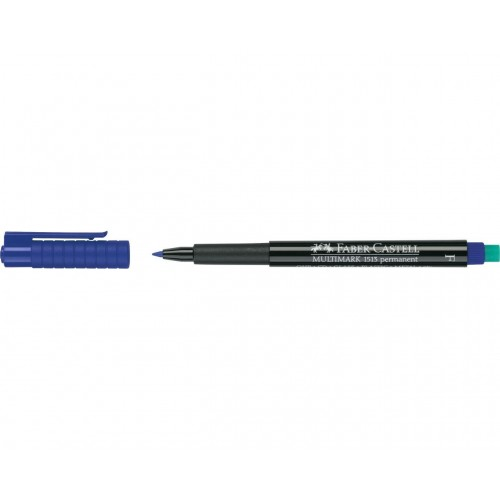 Faber-Castell Multimark 1513 Permanent 0.6mm Fine Tip Pen - Blue (Pk 10)