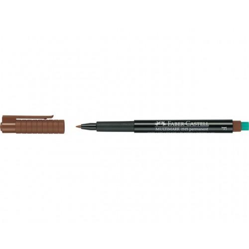 Faber-Castell Multimark 1513 Permanent 0.6mm Fine Tip Pen - Brown (Pk 10)