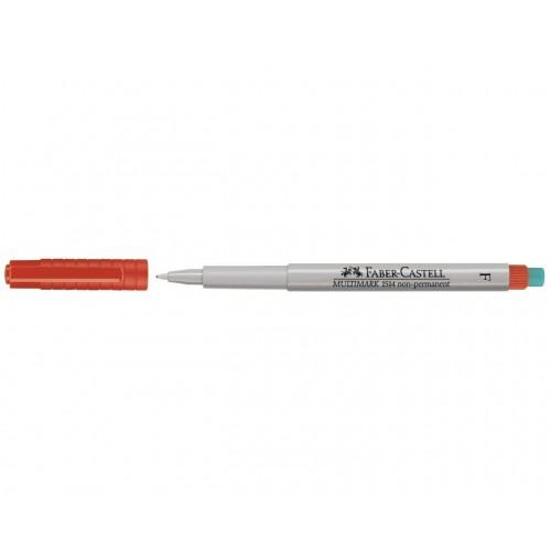 Faber-Castell Multimark 1514 Non-Permanent 0.6mm Fine Tip Pen - Red (Pk 10)