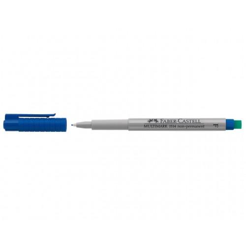 Faber-Castell Multimark 1514 Non-Permanent 0.6mm Fine Tip Pen - Blue (Pk 10)