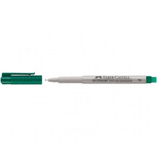 Faber-Castell Multimark 1514 Non-Permanent 0.6mm Fine Tip Pen - Green (Pk 10)