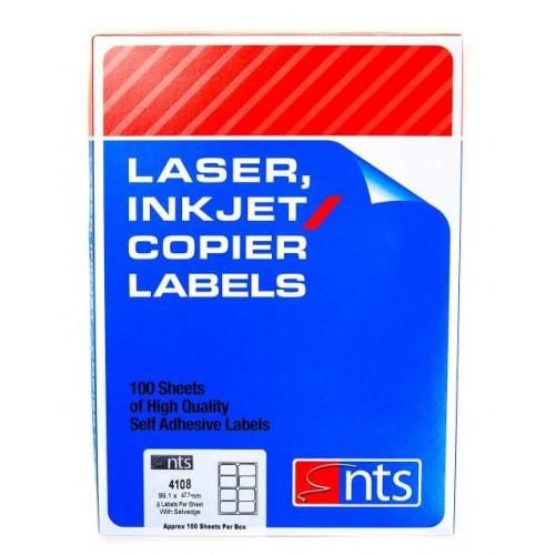 NTS 4108 Laser Inkjet & Copier Labels (8 per sheet) - Box 100