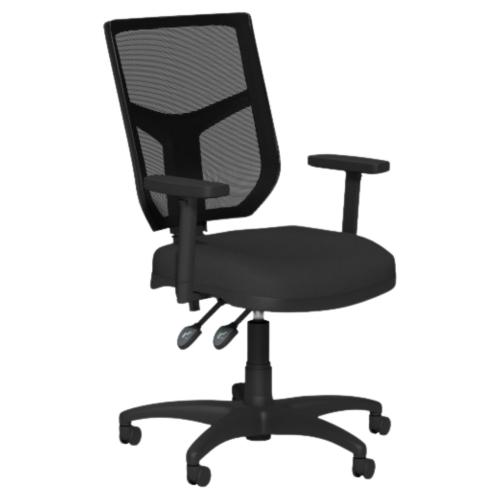 OA Mesh Back Swivel Chair; Adjustable Arms Black