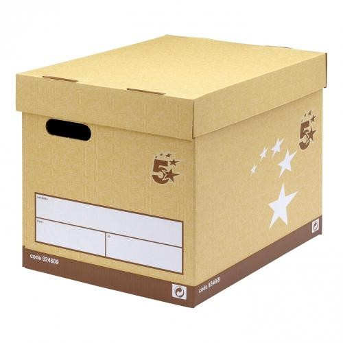5 Star Foolscap Superstrong Archive Storage Box - Sand (Pk 10)