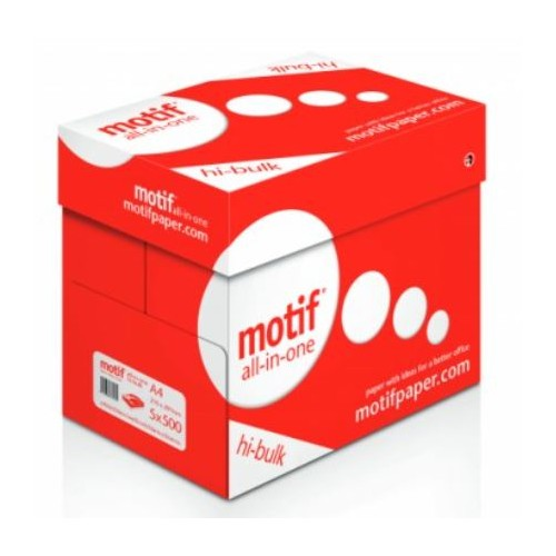 A4 Motif paper White. Ream 500 sheets.     (5 Reams per Box)