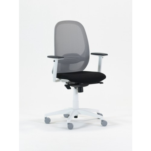 Andy Mesh Back Task Chair; Adjustable Arms - White Frame/Black Mesh