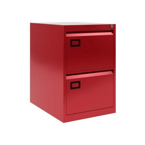 Bisley 2 Drawer AOC Filing Cabinet - Cardinal Red