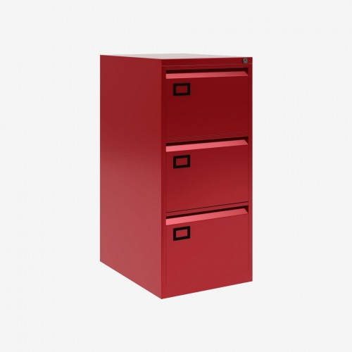 Bisley 3 Drawer AOC Filing Cabinet - Cardinal Red