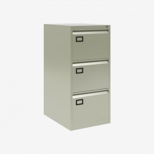 Bisley 3 Drawer AOC Filing Cabinet - Goose Grey