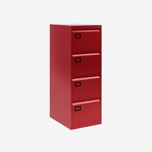 Bisley 4 Drawer AOC Filing Cabinet - Cardinal Red