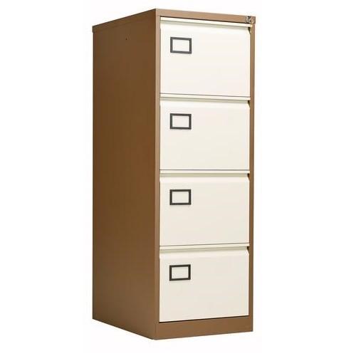 Bisley 4 Drawer AOC Filing Cabinet - Coffee & Cream