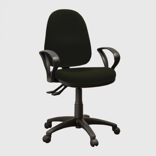 Operator High Back Chair With Fixed Arms, Phoenix Havana Black YP009 Fabric
