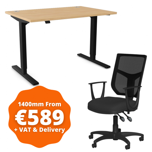 Zoom Sit/Stand Desk 1400mm Black Frame/Beech & OA Mesh Fixed Arm Chair Black