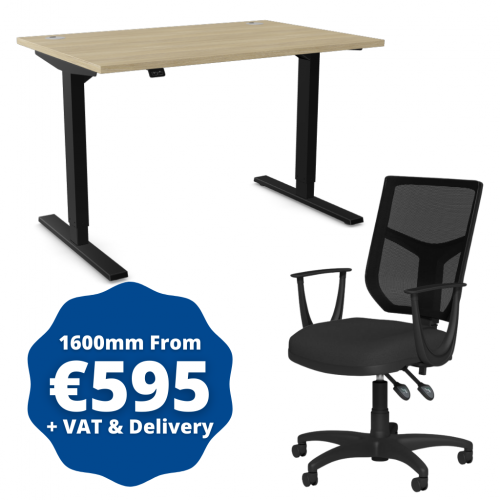 Zoom Sit/Stand Desk 1600mm Black Frame/Urban Oak & OA Mesh Fixed Arm Chair Black
