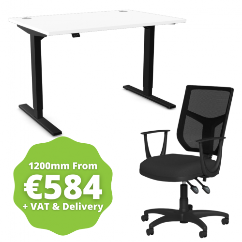 Zoom Sit/Stand Desk 1200mm Black Frame/White & OA Mesh Fixed Arm Chair Black