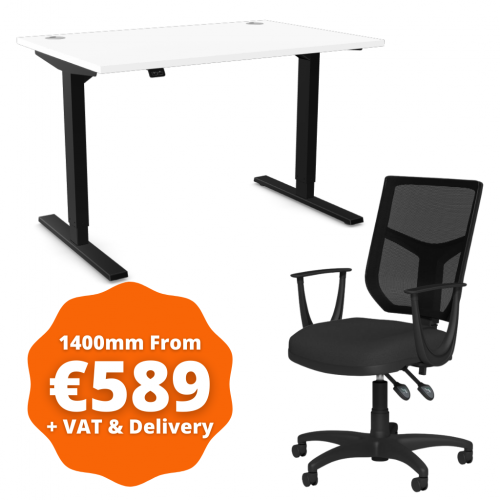 Zoom Sit/Stand Desk 1400mm Black Frame/White & OA Mesh Fixed Arm Chair Black