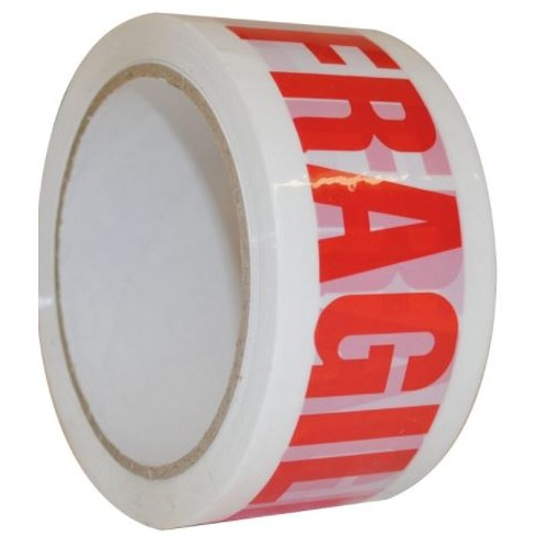 Polypropylene Tape Printed Fragile 50 mm x66 M.  White Red