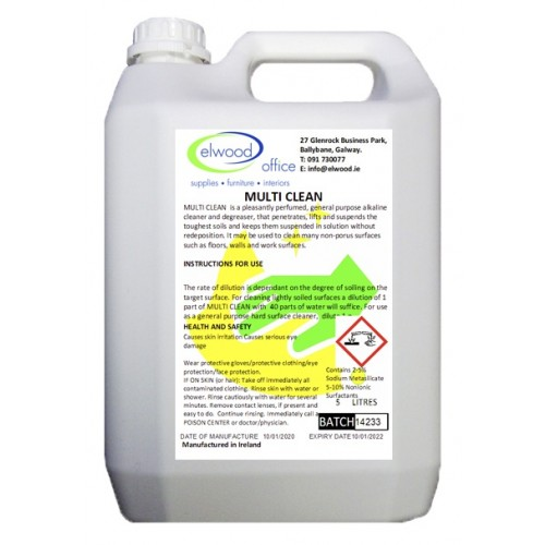 Multi Surface Cleaning Detergent -  Dilutable / Degreaser Solution.  5 Litre